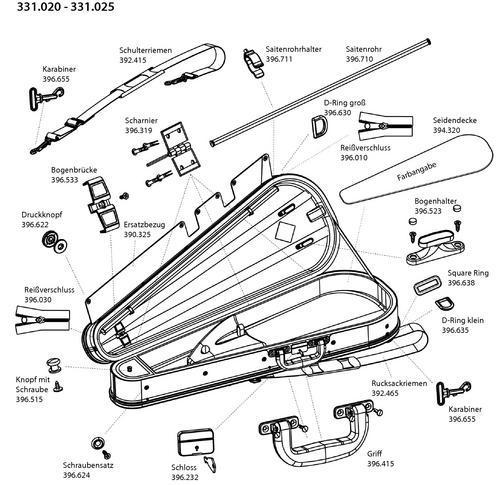 spare parts for viola case gewa varianta liuteria concerto  ersatzteile 331020 - 331025